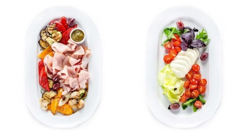 Прочетта с овощами гриль – 250 грн; капрезе – 210 грн