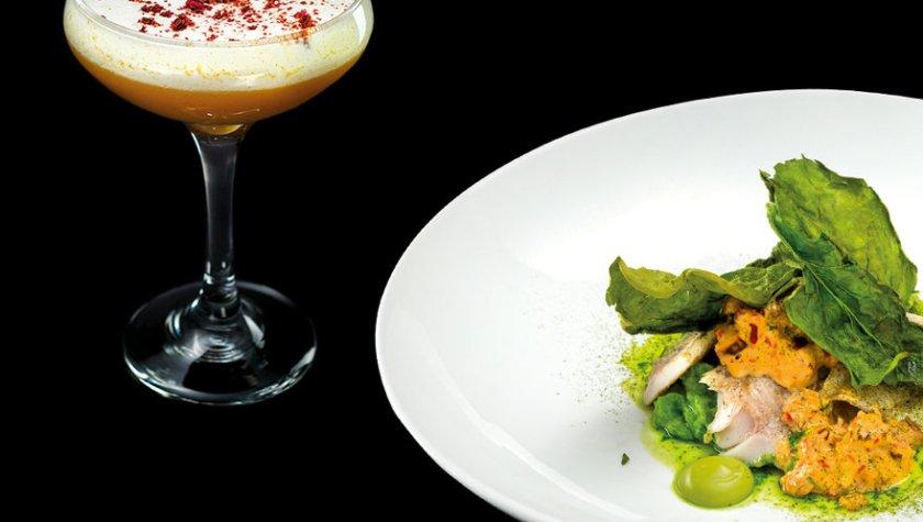 Карпатская форель с рисом, томленым в соке из брокколи и коктейль «Абрикосовый Физз»