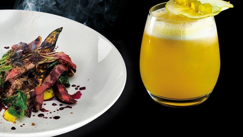Нежное утиное филе с грибами эрингами, баклажанами, кукурузным пюре и винным соусом и коктейль «Ревеневый Сауэр»