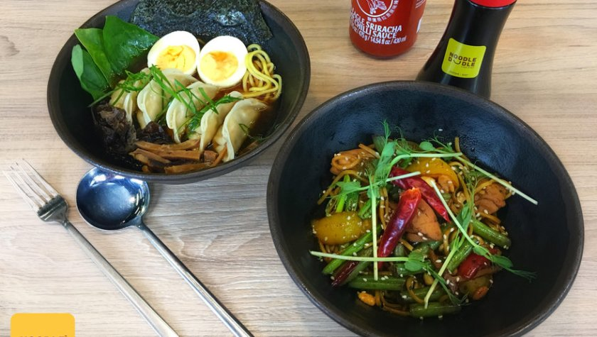 Нудл-суп с пельменями и курицей и курица с овощами в соусе кунг пао с лапшой – 109 грн